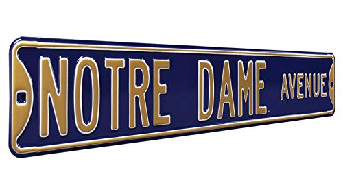 Notre Dame Ave, Heavy Duty, Metal Street Sign Wall Decor - Notre Dame Fan Gear