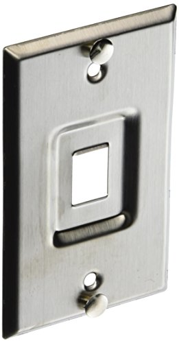 Leviton 4108W-1SP QuickPort Telephone Wall Jack, Stainless Steel, Recessed ()