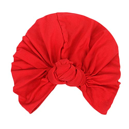 Women's Knotted Turban Hat Hair Loss Head Wrap Cap Chemo Cap Cancer Cap Fashion Slouchy Hats for Women Red ()