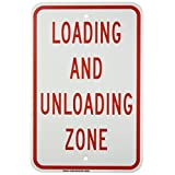 """Brady 129588 Traffic Control Sign, Legend """"Loading and Unloading Zone"""", 18"""" Height, 12"""" Weight, Red on White"""