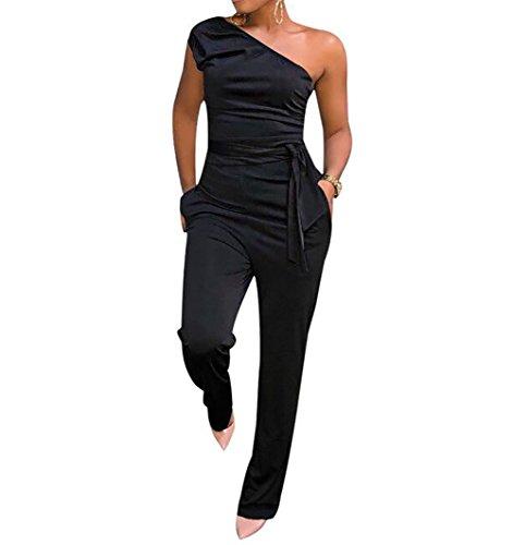 f3d7705916b Voghtic Women s Elegant Sleeveless Off Shoulder Jumpsuits High Waist Romper  with Belt