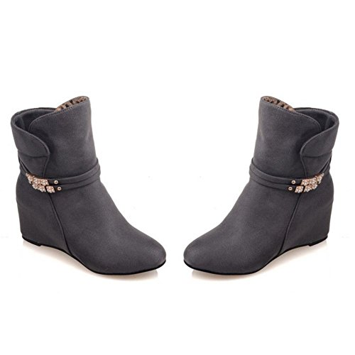 Heel Shoes High Boots Ankle Gray COOLCEPT Wedges Women's YBqSES