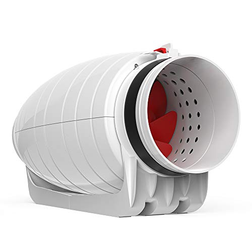 Inline Duct Fan 8'' Super Silent 35dB 850 CBM Pre-Wired 2 Speed Levels Controllable Booster Fan for Grow Tent/Hydroponics/Air Exhaust/Ventilation/Smoke Moving/Air Conditioner