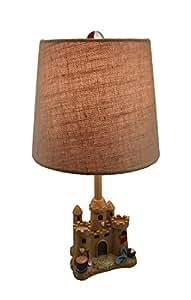 Sand Castle Beach Decorative Table Lamp w/Burlap Shade