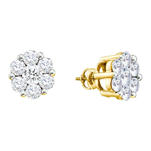 1/2 Ct Diamond Flower Earrings - 4