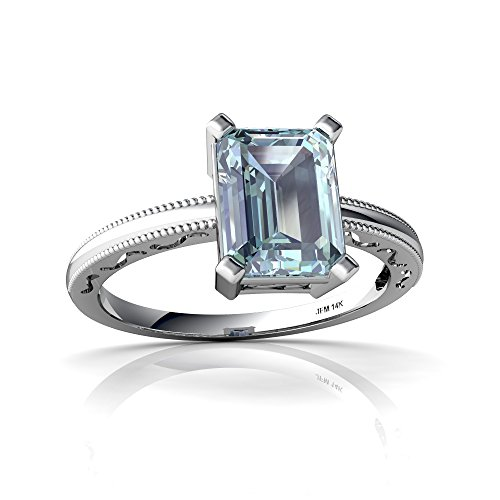 14kt White Gold Aquamarine 8x6mm Emerald_Cut Milgrain Scroll Ring - Size 9