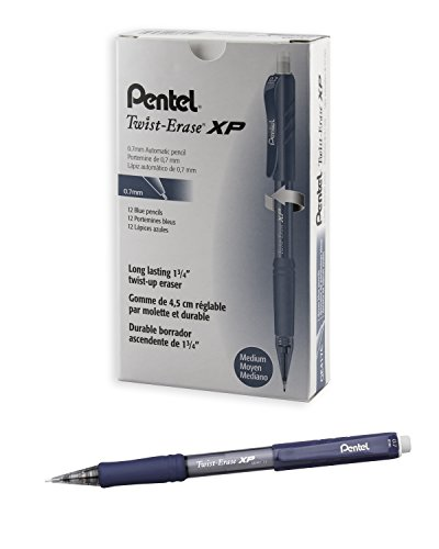 Pentel Twist Erase EXPRESS Automatic Pencil, 0.7mm Lead Size, Blue Barrel, Box of 12 (QE417C)
