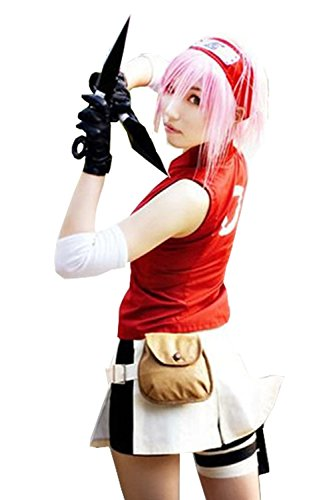 Thundervolt Naruto Costume Sakura Haruno For Women Japan Anime Shippuden Full Set Cosplay (Naruto Shippuden Jacket)