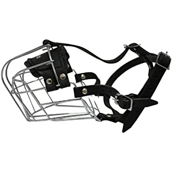 Amazon Com Wire Cage Leather Muzzle Miami Size R2 Black 14