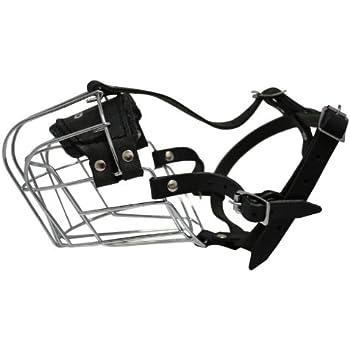 Amazon Com Wire Cage Leather Muzzle Miami Size R2 Black 14