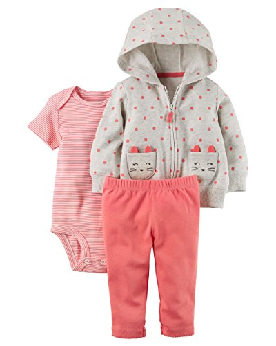 Carter's Baby Girls 3 Piece Cardigan Bodysuit and Pants Set, Cat Polka Dots, 18 - Cat Polka