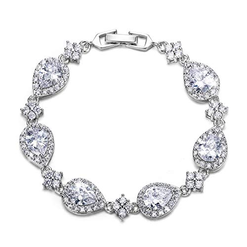 EVER FAITH Silver-Tone Full Zircon Wedding Tear Drop Link Bracelet Clear