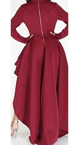 Camice Rosso Supera Vestito Partire Solido Camicetta Dell'increspatura Jaycargogo Irregolare Alto Lungo Donne Manicotto Le 8qFUOvU
