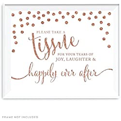 Andaz Press Wedding Party Signs, Rose Gold Faux Glitter, 8.5x11-inch, Please Take A Tissue for Your Tears of Joy, Laughter and Happily Ever After, 1-Pack, Copper Colored Party Supplies Decorations
