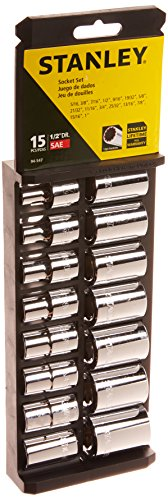 Stanley 94-547 15-Piece 1/2-Inch Drive Standard Socket Set, SAE (Socket 1 Set 2)