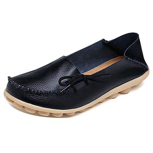 Women Leather Shoes Color Flats Slip On Loafers Black - 7