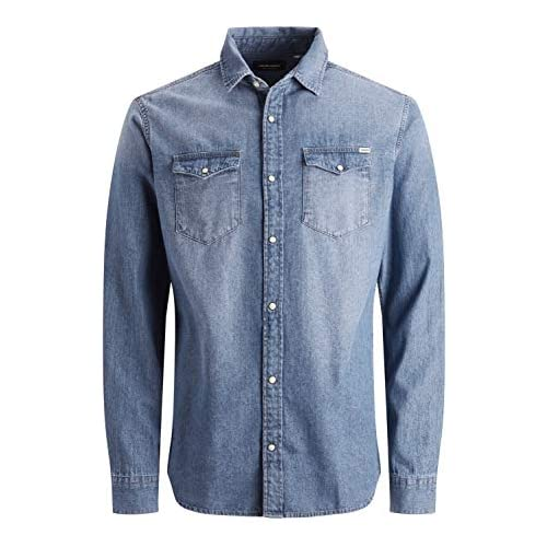 chollos oferta descuentos barato Jack Jones Jjesheridan Shirt L s Camisa Vaquera Azul Medium Blue Denim Fit Slim X Small para Hombre