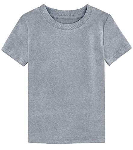 COSLAND Toddler Casual T Shirt Solid Color Tshirt (Light Gray, 4T) ()