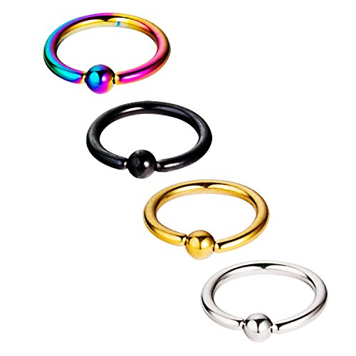 Vcmart 4Pcs 14G 10mm Captive Bead Rings Ball Closure Body Jewelry Fashion (Ring Captive Mm 10)