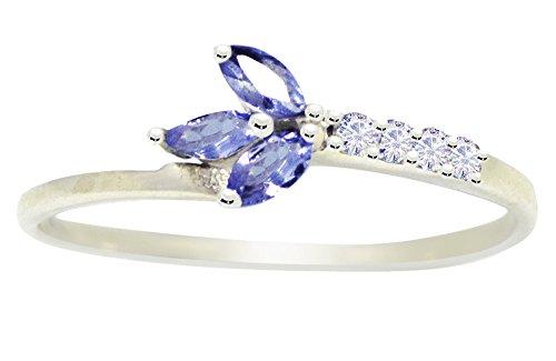 Banithani 925 argent pur beau design tanzanite bijoux fantaisie charme bague en pierre