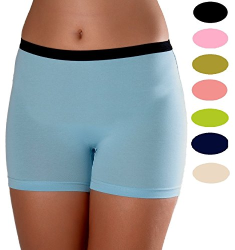 Women's 3 Pack Comfortable Cotton Bike Yoga Boxer Brief Boyshort (Small, Ocean)