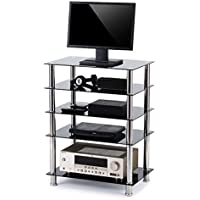 RFIVER 5-Tier Black Glass Audio Video Tower For TV, Xbox, Gaming Consoles, Media Component,Streaming Devices, HF1002