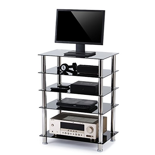 Hi Rack Fi Silver (Rfiver 5-Tier Black Glass Audio Video Tower For TV, Xbox, Gaming Consoles, Media Component,Streaming Devices, HF1002)
