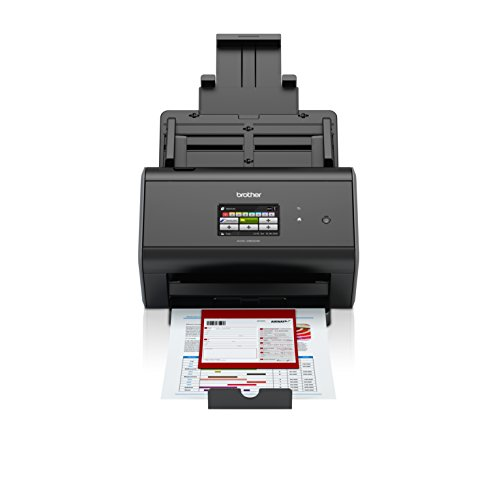 Read About Brother ImageCenter ADS-2800W Wireless Document Scanner, Multi-Page Scanning, Color Touchscreen, Integrated Image Optimization, High-Precision Scanning, Continuous Scan Mode, Black