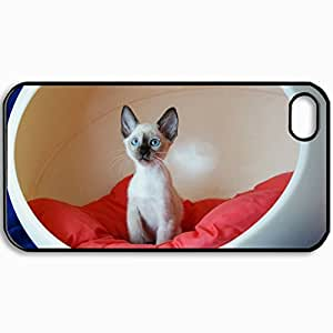 Customized Cellphone Case Back Cover For iPhone 4 4S, Protective Hardshell Case Personalized Cat Pillow Sitting Chair Black