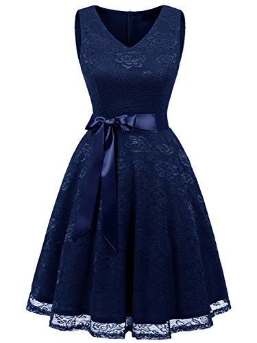 Ladies Navy Blue Short - IVNIS RS90025 Women's Short Bridesmaid Dress V Neck Vintage Floral Lace Swing Cocktail Dress Navy Blue XL