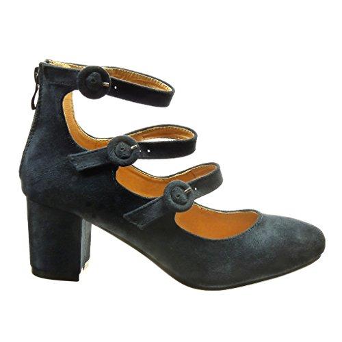 Angkorly - Zapatillas de Moda Tacón escarpín mujer Hebilla tanga Talón Tacón ancho alto 6 CM - Azul