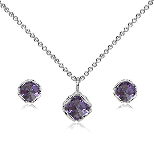 Sterling Silver Simulated Alexandrite 6mm Round Solitaire Stud Earrings & Pendant Necklace Set