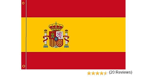 DURABOL Bandera de España con Escudo flag 90x150cm SATIN 2 anillas metálicas fijadas en el dobladillo: Amazon.es: Jardín