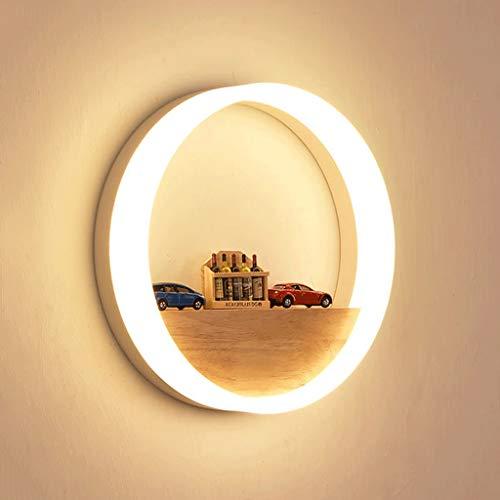 Wall Bedside Lamp Solid Wood Wall Lamp Bedside Lamp Bedroom Aisle Modern Minimalist Corridor Staircase Personality Living Room Creative Wall Lamp ( color : White light , Size : Diameter-30CM )