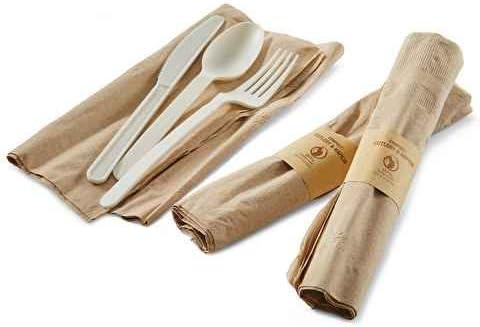 Juego de cuchillo, cuchara y tenedor de plástico biodegradable ...