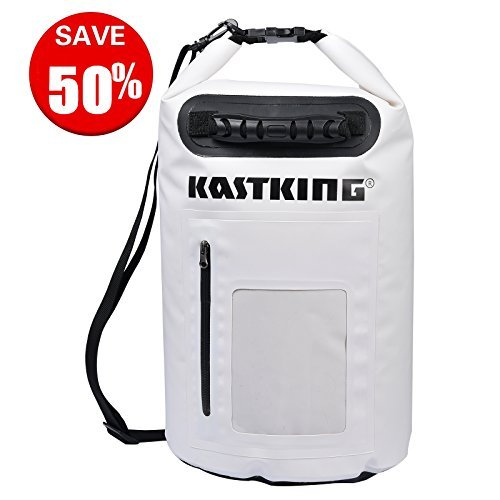 KastKing Dry Bag Waterproof Roll Top Type Duffel Bag with Zippered Compartment and Grab Handle (White, 30L)