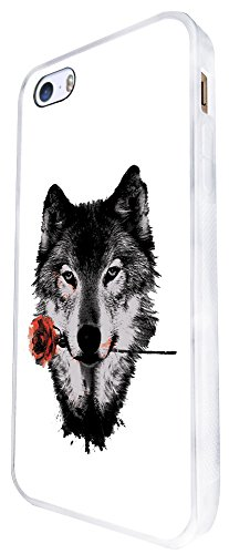 1491 - Cool Fun Trendy Wolf Colourful Animals Wildlife Woods Whimsical Rose Design iphone SE - 2016 Coque Fashion Trend Case Coque Protection Cover plastique et métal - Blanc