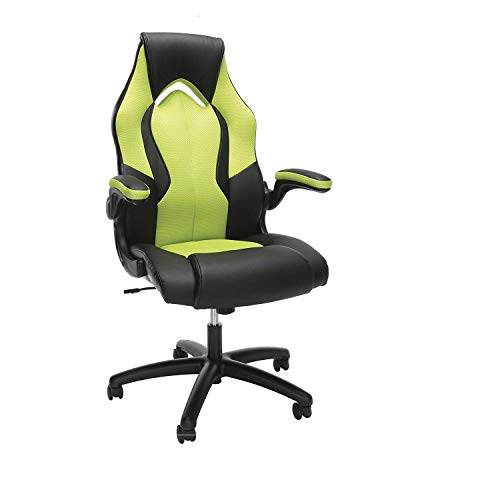 OFM Ess-3086 High-Back Racing Style Bonded Leather Gaming Chair, Green