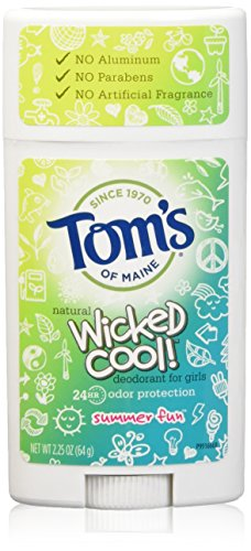 Tom's of Maine Wicked Cool Teen Girls Natural Summer Fun Deodorant, 2.25 Ounce (Pack of ()