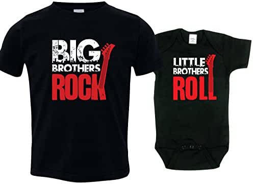 Sibling Shirts Set for Sisters and Brothers, Includes Big Brothers Rock