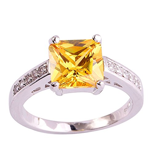Psiroy Women's 925 Sterling Silver Created Citrine Filled Princess Cut Anniversary Ring Size ()