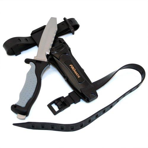 Black Diver Knife (Promate Blunt Tip Titanium Dive Knife - KF595, Gray/Black, Blunt Tip)