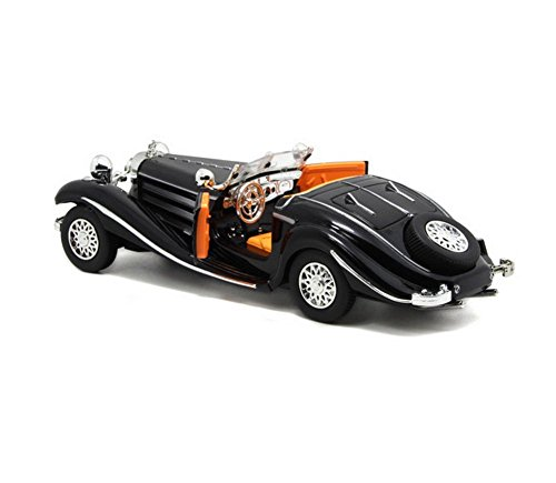 Aimeio Classic Retro Benz 500K Coupe Roadster Model Creative 1:24 Mini Iron Super Car Best Gift Home Bar Decoration Kids Toy Gift Antique Car(Black)