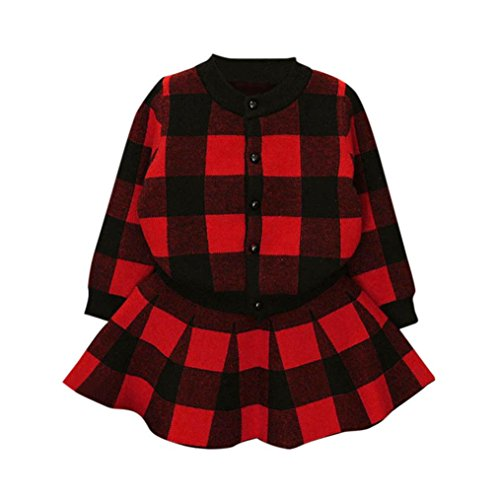 Girls Dress,Haoricu 2017 Hot Sale Autumn Winter Toddler Kids Plaid Knitted Sweater Dress Set Baby Girls Coat Tops+Skirt Set (5T, Red ❤️)