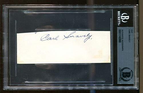 (Carl Snavely Signed Cut 2x5 Autographed UNC Tar Heels Rare Beckett BAS)