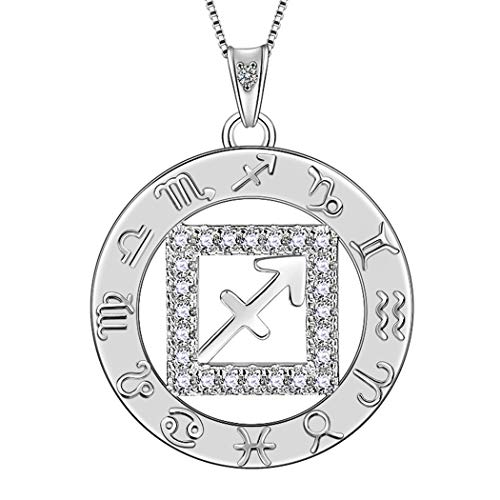 Sign Charm Necklace - Aurora Tears Sagittarius Necklaces Zodiac Round Coin Pendant Women 925 Sterling Silver Crystal Cubic Zirconia Round Constellation Pendant Girls Charm Dating Jewelry DP0111S