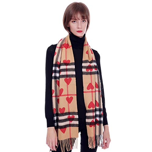 Burberry Women Cashmere Scarf - Wool Cashmere Plaid Ladies Scarf Red Heart Pattern Fashion Wild Unisex Warm Shawl Bib Dual Purpose (Color : A)