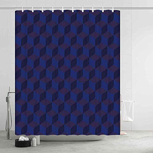 (YOLIYANA Indigo Comfortable Shower Curtain,3D Print Like Geometrical Futuristic Inspired Shadow Boxes Cubes Image Print for Showers Stalls and Bathtubs,70.87
