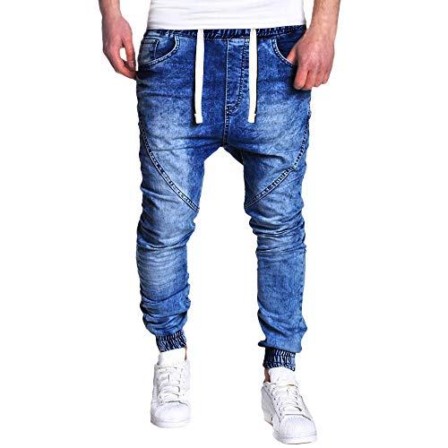 LILICAT Jeans elásticos Vaqueros de los Hombres lavan los Pantalones Ocasionales Delgados de la Vendimia de los Vaqueros Ocasionales Azul