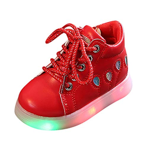 Toddler Baby Girls Casual Ballon Sequins Zip Led Light Luminous Sport Short Boots Shoes Sneakers (15Months-6Years)